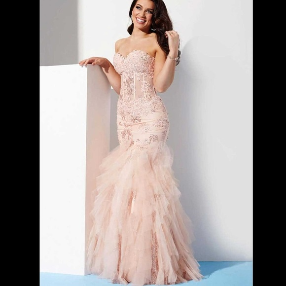 b67ad1656590 Jovani Dresses | Blush Tiered Trumpet Long Dress | Poshmark